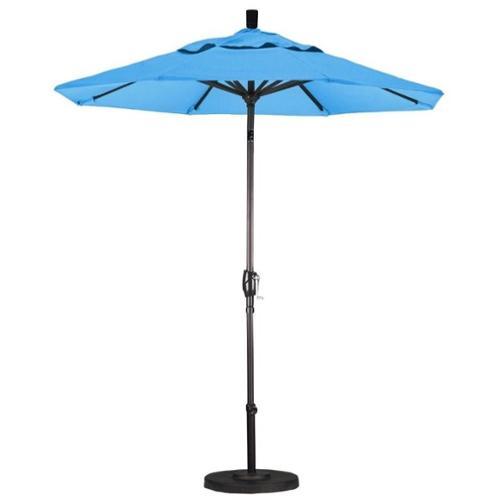 California Umbrella GSPT758117-F26 7. 5 ft.  Fiberglass Market Umbrella Push Tilt Bronze-Olefin-Frost Blue