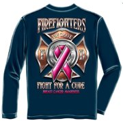 "Firefighter ""Fight For A Cure"" Breast Cancer Awareness Long Sleeve T-shirt, Blue"