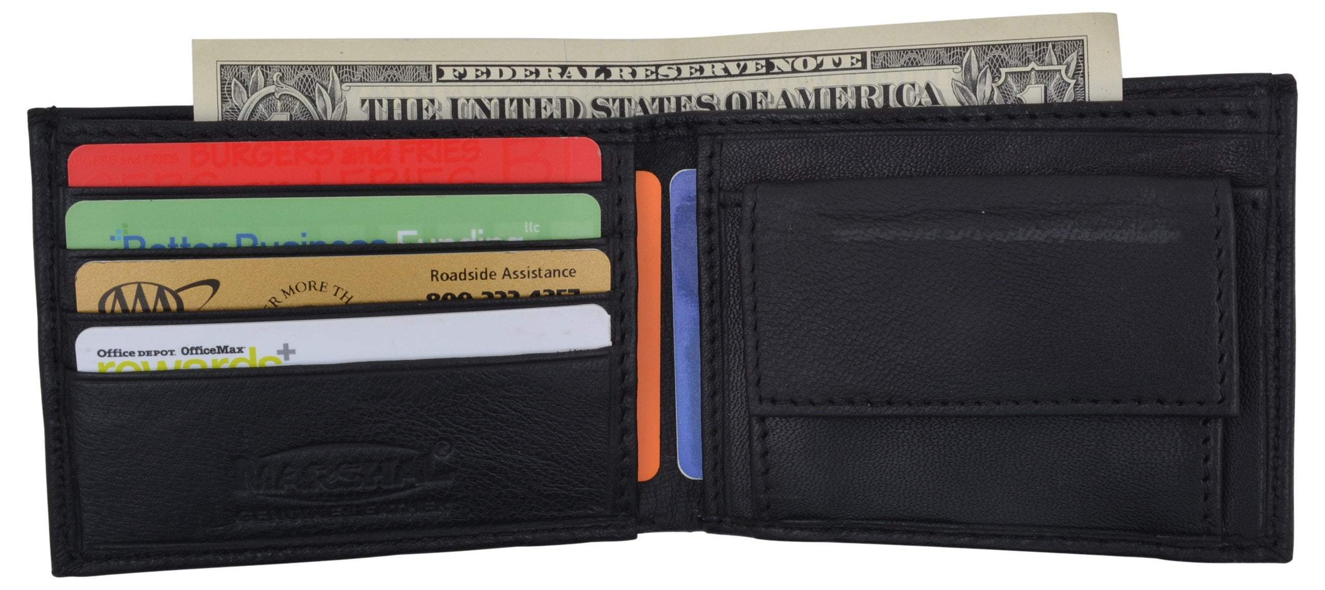 Mens Kids Small Bifold Genuine Leather Wallet W/Card Holder Snap ...