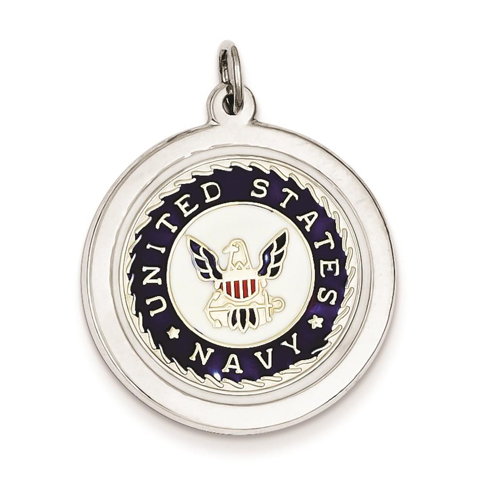 925 Sterling Silver Enameled US Navy Polished Disc Charm Pendant 25mmx23mm