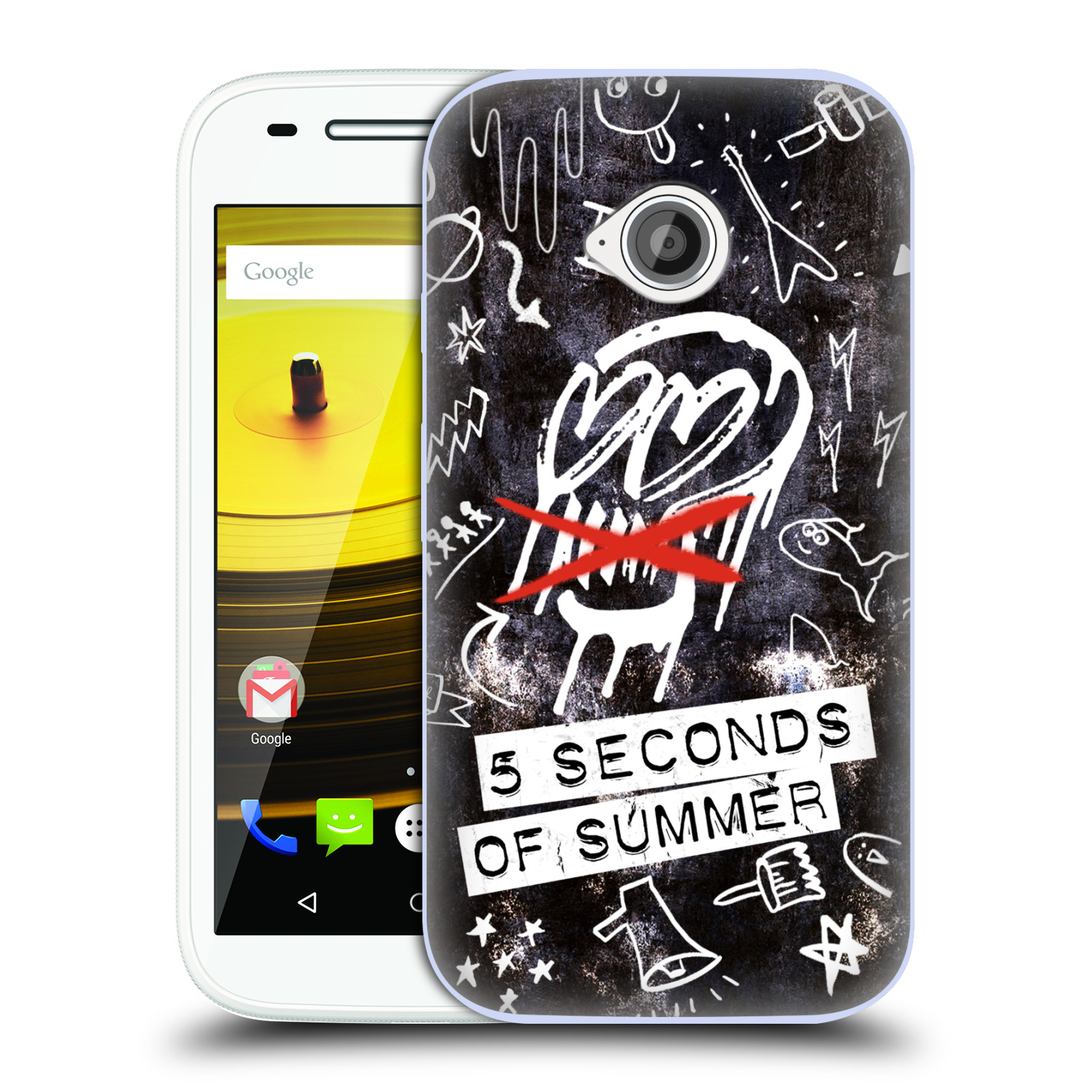 OFFICIAL 5 SECONDS OF SUMMER DOODLE ICONS SOFT GEL CASE FOR MOTOROLA PHONES