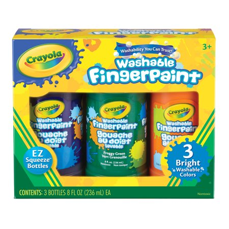 Crayola Washable Fingerpaint Set, 3-Colors, Bright Colors