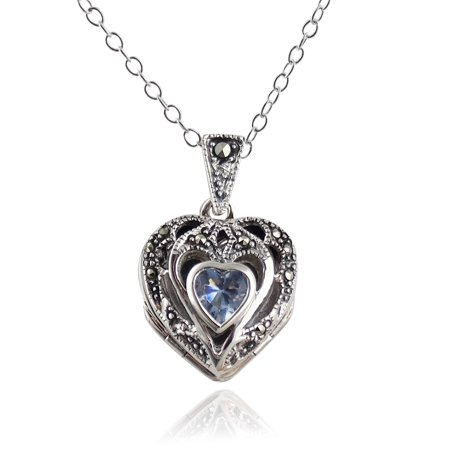 Sterling Silver Marcasite Aquamarine CZ Heart Photo Locket Necklace, 18