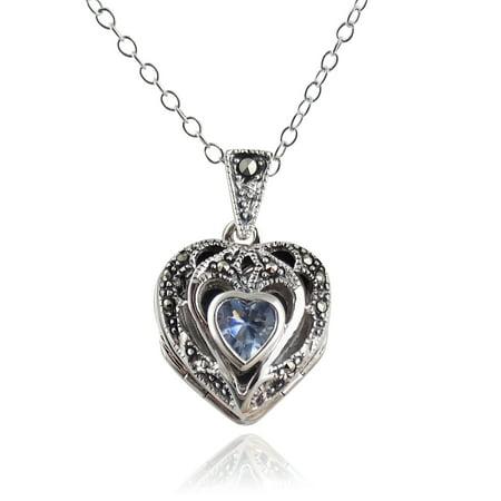 Sterling Silver Marcasite Aquamarine CZ Heart Photo Locket Necklace, 18