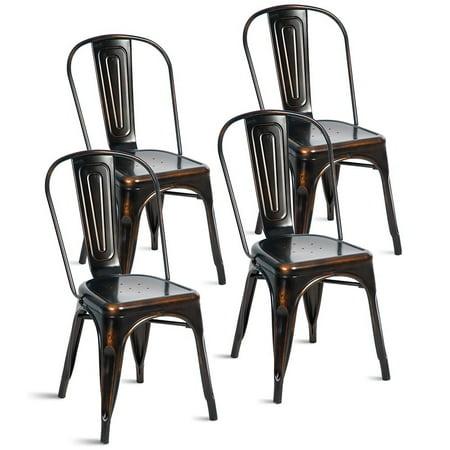 (Merax Indoor-Outdoor Use Metal Stackable Dining Chairs, Set of 4)