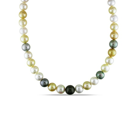 Cultured Pearl Onyx Necklace (Tangelo 10-12.5MM Multi-Color South Sea and Tahitian Cultured Pearl 14k Yellow Gold Strand Necklace,)