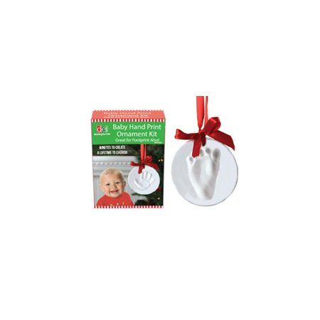 DEI Christmas Morning Polymer Baby Hand Print Shaped Ornament - Handprint Santa Ornament