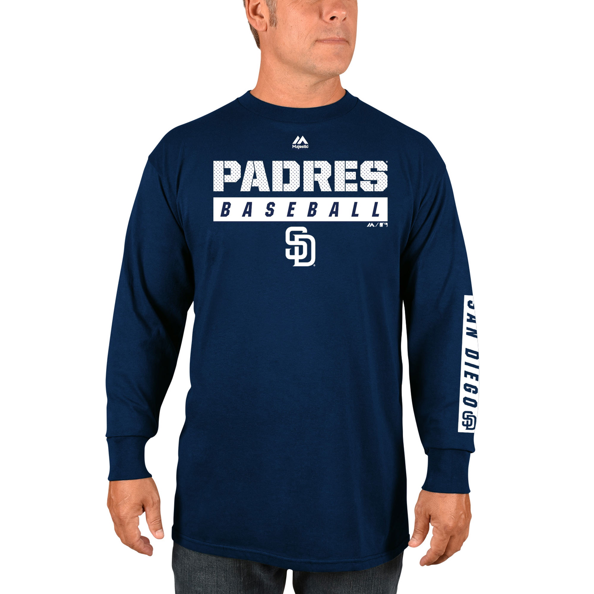 San Diego Padres Majestic Proven Pastime Long Sleeve T-Shirt - Navy