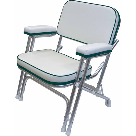 Wise 8WD120AB-1734 Folding Deck Chair, White / Green (Aluminum Deck Boat)