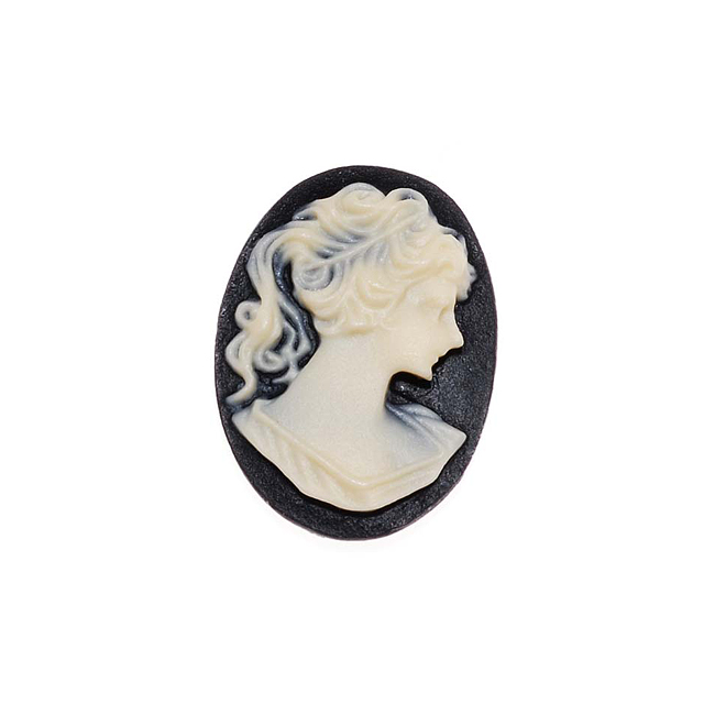 Vintage Style Lucite Oval Cameo Black With Lady's Profile 18x13mm (4)