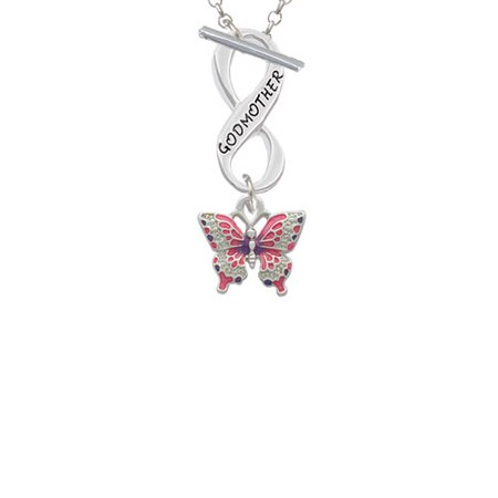 Small Hot Pink & Purple Butterfly Godmother Infinity Toggle Chain Necklace