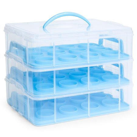 Cake Carrier With Handle (Best Choice Products 3-Tier BPA-Free Cake Cupcake Baked Goods Holder Storage Carrier Container for 36 Cupcakes w/ Detachable Tiers, Locks, Handle - Blue)