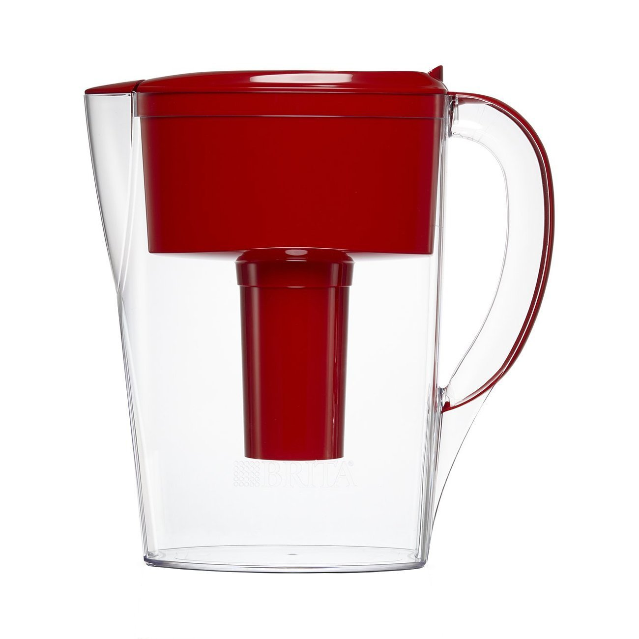Small 6 Cup Space Saver Water Pitcher with Filter - BPA Free - Red, SMALL WATER PITCHER: This small, clear plastic pitcher has a flip top lid.., By Brita