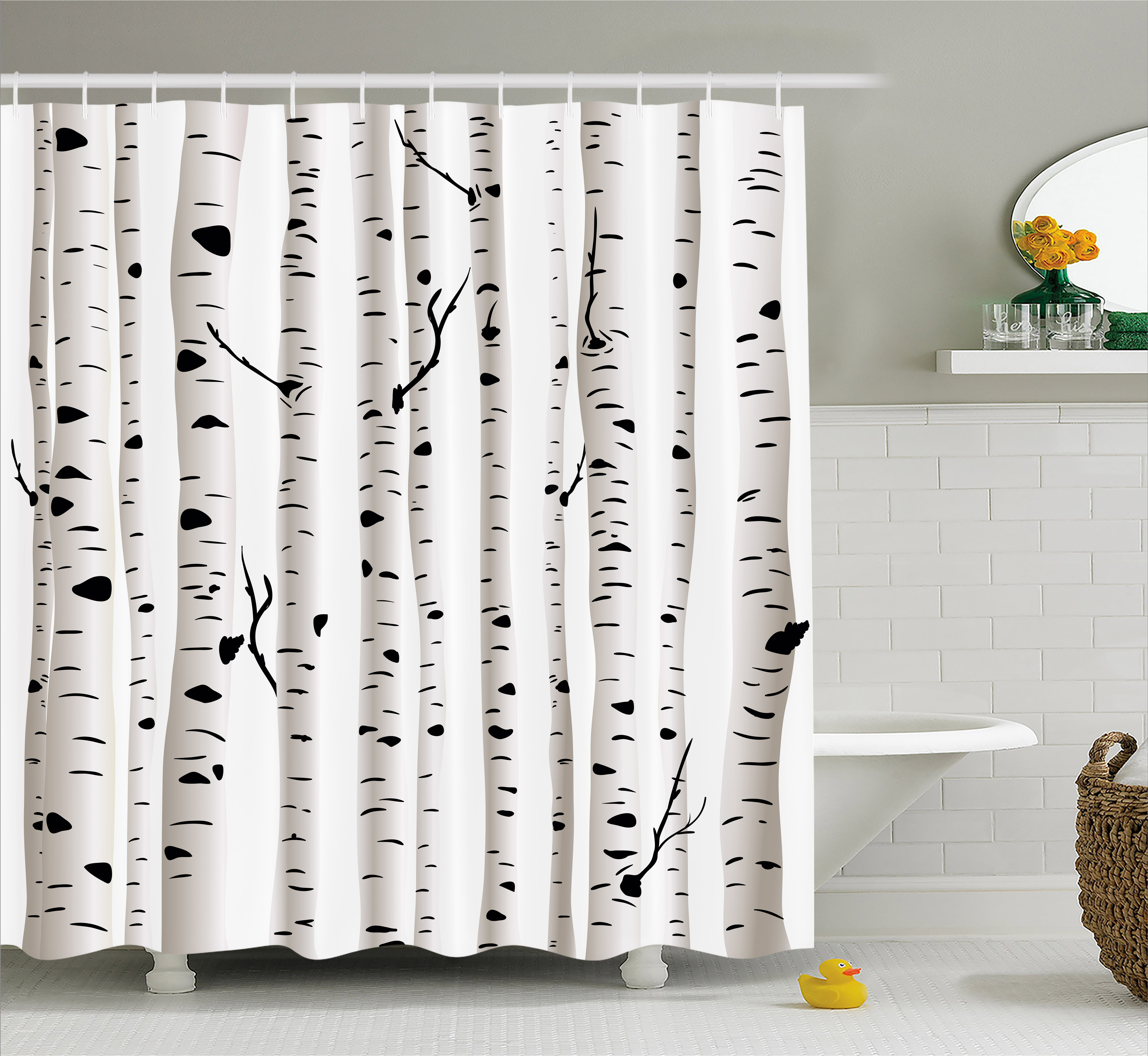 Nice Birch Tree Shower Curtain, Forest Seasonal Nature Woodland Leafless  Branches Grove Botany Illustration, Fabric