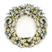 Best Choice Products 24in Pre-Lit Cordless Artificial Holiday Flocked Elegant Christmas Pine Wreath Decor w/ Timer