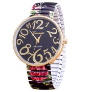 Big Face Easy to Read Numbers Stretch Band Black Flower Rose Design Watch-200-A