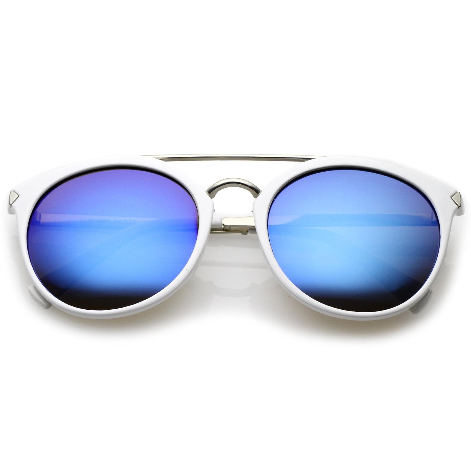 sunglassLA - Modern Double Bridge Colored Mirror Lens Round Aviator Sunglasses 57mm - 57mm
