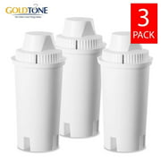 (3) GoldTone Replacement Charcoal Water Pitcher Filter for All Brita and Mavea Classic Filters, Replaces Standard Models, 3 Pack