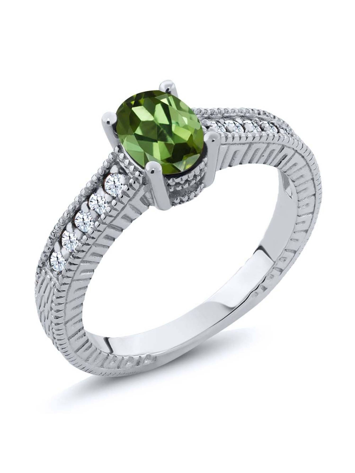 1.25 Ct Oval Green Tourmaline White Created Sapphire 925 Sterling Silver Ring by