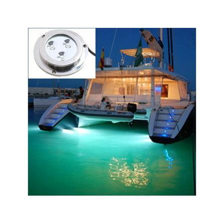 Super Bright 3 LED 2W Marine Underwater Waterproof Light Boat Yacht  Underwater Light_Green