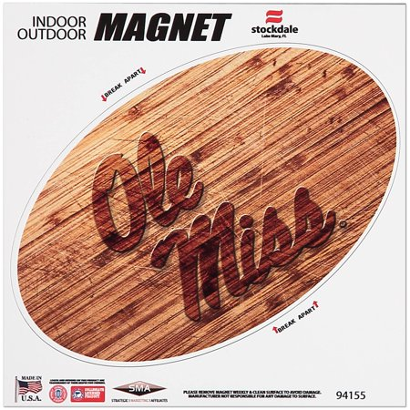 Ole Miss Rebels 6 x 6 Wood Design Magnet