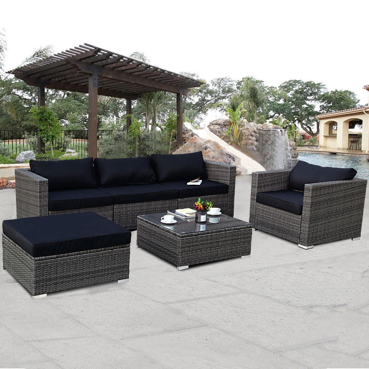 Costway 6-piece Rattan Wicker Patio Furniture Set Sectional Sofa Couch Yard W/Black Cushion