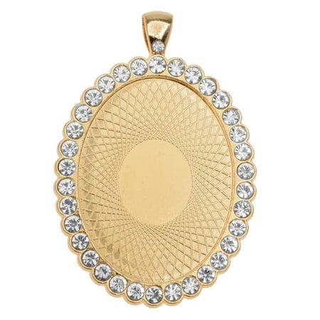 Edge Bezel (Bezel Pendant, Oval with Crystal Edge 40x30mm, 1 Piece, Gold)