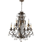 Quorum Rio Salado 9 Light Up Chandelier in Toasted Sienna With Mystic Silver