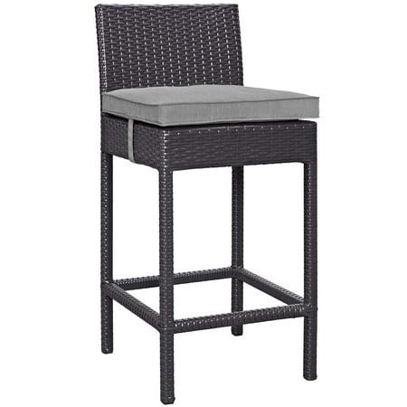 Modern Contemporary Urban Design Outdoor Patio Balcony Garden Furniture Bar Side Stool Chair, Rattan Wicker, Grey Gray ()