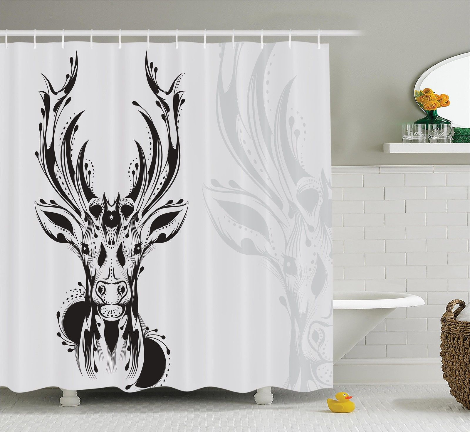 Antlers Decor Shower Curtain Set, Tribal Deer Head Shadow Art Emblem  Wilderness Ornamental Monochrome Artwork