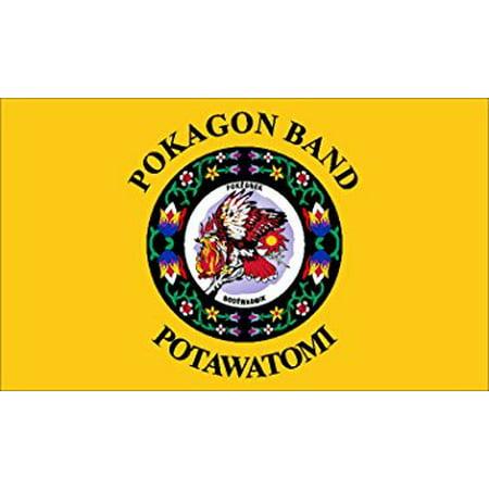 POKAGON BAND of POTAWATOMI Tribe Sticker Decal (seal logo flag native) Size: 3 x 5 -