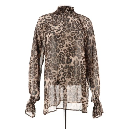 Smocked Animal (George Simonton Animal Print Smocked Turtleneck Blouse A218439)