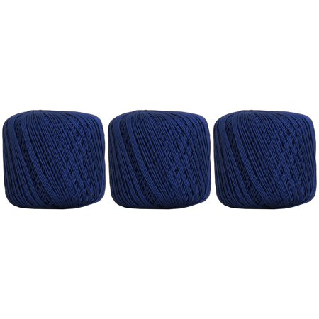 100% Pure Cotton Crochet Thread 3 Ball Value Pack - SIZE 3 - Color 41 - BLUE - 22 colors available