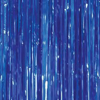 Blue Foil Fringe Door Curtain, 3ft x 12ft
