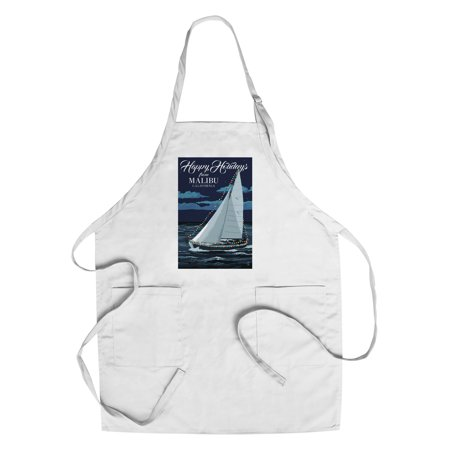Malibu  California   Christmas Lights Sailboat   Lantern Press Artwork  Cotton Polyester Chefs Apron