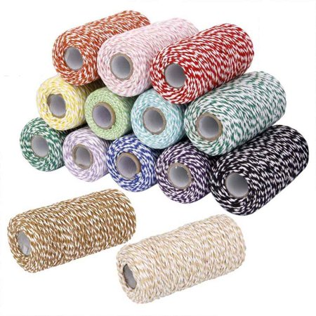 2Pack 100m/Roll 2Ply Cotton Bakers Twine String DIY Handmade Colored-twisted Cord Gift Box Decoration Craft Rope