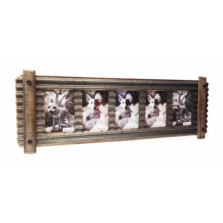 Wilco Home Smokey Cabin Corrugated Tin with Wood Wall Picture Frame ...