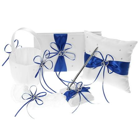 Pillow Garter Set - 5pcs/set Wedding Supplies Double Heart Satin Flower Girl Basket + 7 * 7 inches Ring Bearer Pillow + Guest Book + Pen Holder + Bride Garter Set Blue
