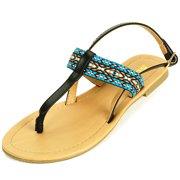 Women's T-Strap Sandals Slingback Thongs Embroidered Strap Flip Flops Boho Flats