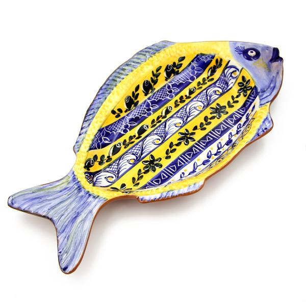 Hand-painted Vintage Traditional Portuguese Terracotta Large Fish Shape Platter