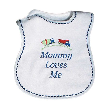 "Raindrops Baby Boys ""Mommy Loves Me"" Embroidered Bib, Royal"