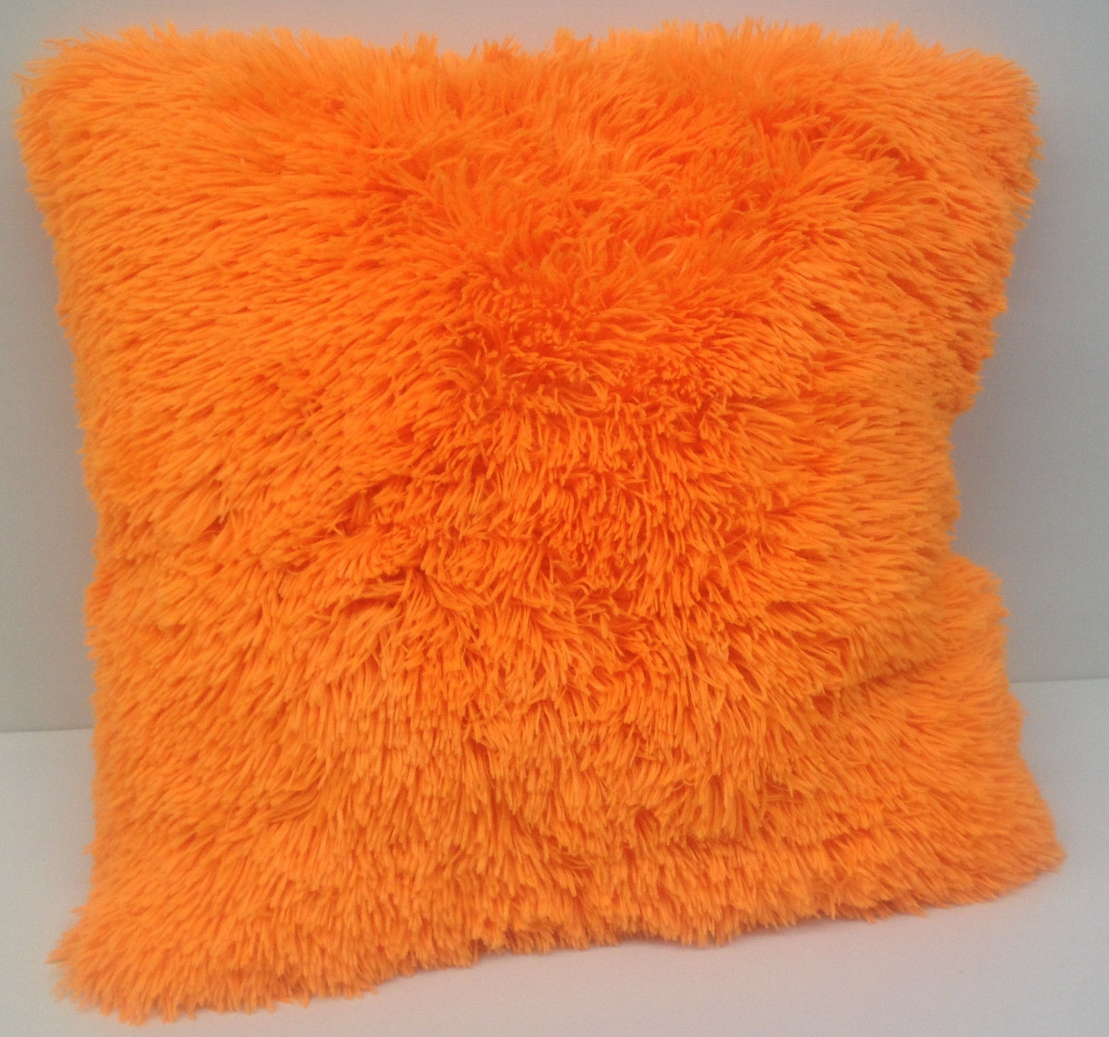 "Set of 2 Large Shaggy Fur Toss Throw Pillows, Neon Orange, 20"" x 20"""