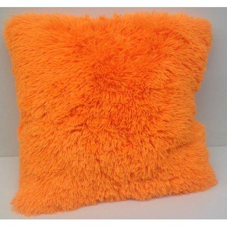 Set of 2 Large Shaggy Fur Toss Throw Pillows, Neon Orange, 20\