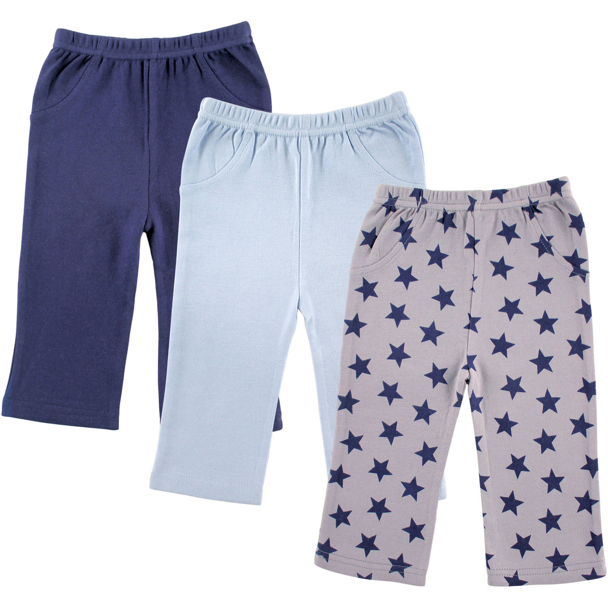Luvable Friends Newborn Baby Boy 3-Pack Printed Pants, Blue Stars