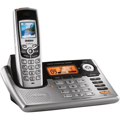 Uniden CLX-485 5.8 GHz Digital Expandable Cordless Phone with Color LCD, Answering System, Caller ID, and Dual Keypads