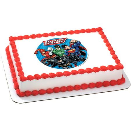 Justice League Cake Decorating Kit : Justice League Quarter Sheet Edible Cake Topper (Each ...