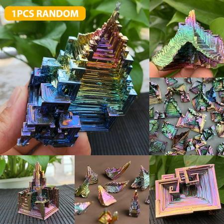 Rainbow Aura Bismuth Crystal Quartz Cluster, Irregular Bismuth Mineral Specimen, 1.2~1.6inch Home Decorative Jewelry Gemstone Ornament, Bismuth Crystal Healing Stone, EEEKit Rainbow Aura Quartz