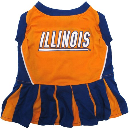 Pets First College Illinois Fighting Illini Cheerleader  3 Sizes Pet Dress Available  Licensed Dog Outfit