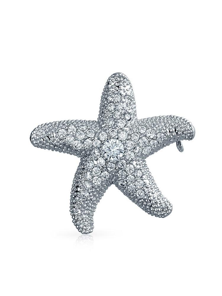 CZ Nautical Starfish Brooch Pendant Pin Rhodium Plated
