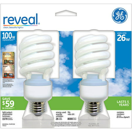 5 Light Cfl - GE CFL Reveal Spiral 26wt - 6 Bulbs/ 3 Packs